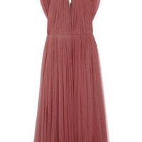 Lanvin | Pleated silk-blend tulle dress | NET-A-PORTER.COM
