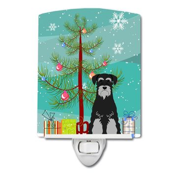 Merry Christmas Tree Standard Schnauzer Black Grey Ceramic Night Light BB4159CNL