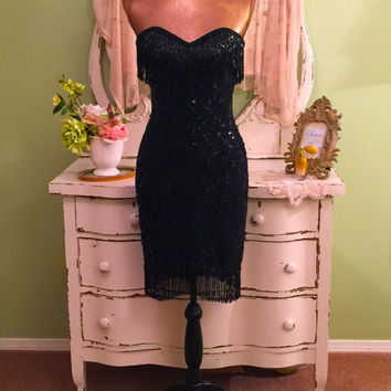 Beaded Slip Dress, Fringe Sequined Dress, Black Tie Dress, Small, High Fashion, Strapless Dress, Hourglass Dress, Elegant, Bombshell Dress