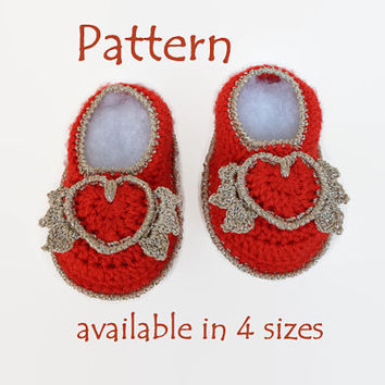 PATTERN: First Valentines, Valentines crochet, Valentines baby girl, Baby Cupid, Crochet baby booties, Crochet baby shoes, Baby girl shoes