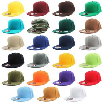 Plain Solid Flat Bill Visor Fitted Baseball Caps Snapback Size Colors Basic Hats