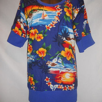 Vintage 80s Rainbow Handmade Hawaiian Print Hawaii Pull Over Sail Boats Hibiscus Flowers Sunset Royal Blue Kawaii Island Shirt Rainbow