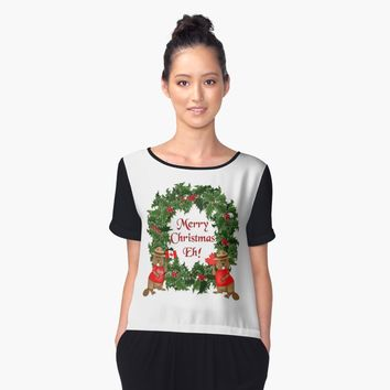 'Canadian Mountie Beaver Christmas Eh!' Women's Chiffon Top by SpiceTree