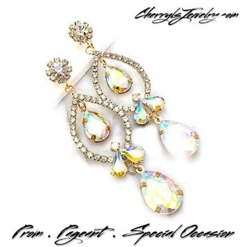 AB Aurora Borealis Crystal Chandelier Earrings