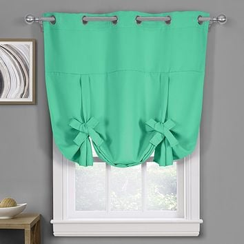 """Ava Blackout Weave Curtains Grommet Tie Up Shade for Small Window ( 46"""" W X 63"""" L)"""