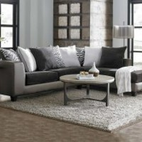 Dark Grey and Metallic | Shimmer Magnetite Two Piece Sectional Sofa