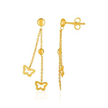 14K Yellow Gold Ball and Butterfly Drop Post Earrings