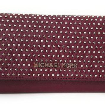 DCCKUG3 Michael Kors Jet Set MIcro Stud Saffiano Leather Convertible Chain Wallet