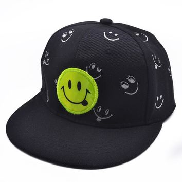 Embroidered Smile Face Hip Hop Suede Cap Baseball Cap Blank Dad Hats For baby Snapback Trucker Hat child