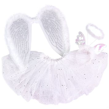 Girls Angel Costume Set with Sparkle Wings Tutu and Headband