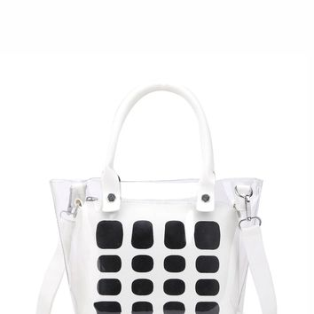 Striped Clear Tote Bag With Inner Clutch