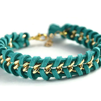 Dark Teal Woven Gold Chain Bracelet, Teal Suede Woven Through a Single Chain, Teal Chain Bracelet, Chevron Chain Bracelet