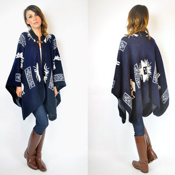 unisex ecuadorian ALPACA navy wool BLANKET boho coat CAPE poncho, one size fits all