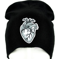 Anatomical Human Heart Beanie Occult Clothing Knit Cap