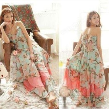DCCKCO2 Summer Women Floral Print Chiffon Long Dresses V-Neck Beach Boho Maxi Sundress Spaghetti Straps