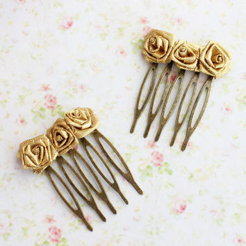 Gold Rose Petite Hair Comb.  Weddings. Fall. Fashion. Roses Hair Pin. Autumn. Vintage Gold Flower Comb. Set of 2
