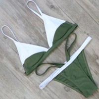 Multicolor Strap Thong Beach Bikini Set Swimsuit Swimwear