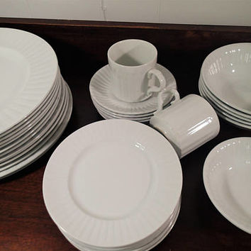 Vintage Dinnerware Alfred Meakin Leeds England Traditional Ironstone 36 piece set Solid White Mid Century ribbed design 1940s 1950s 1960s