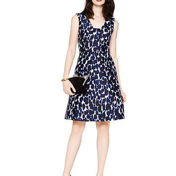 Kate Spade Leopard Print Fit And Flare Dress Deep Indigo