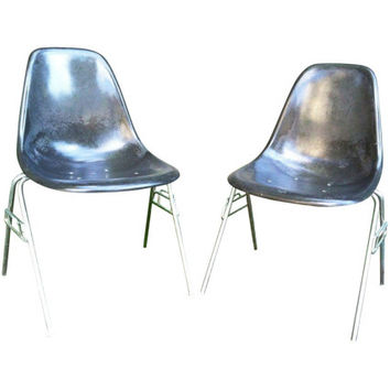 Herman Miller Eames Grey Shell Chairs - A Pair