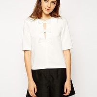 ASOS Top In Premium Fabric With Pretty Bow Detail