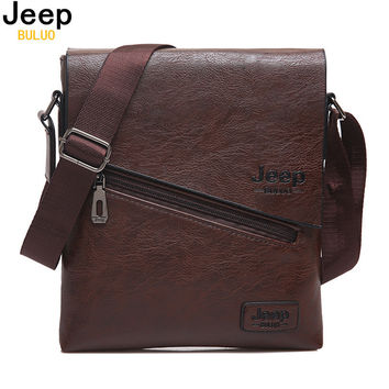 BULUO JEEP Original Brand Men Messenger Bags High Quality Casual Business Tote Bag For Male Leather Shoulder Bags Hobos 1501