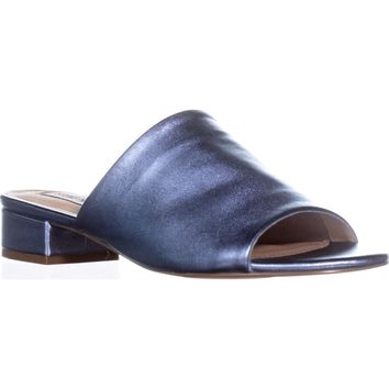 Steve Madden Briele Flat Sandals, Blue Metallic, 6.5 US