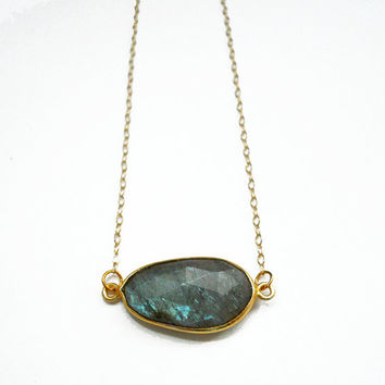 Labradorite Necklace with Vermeil Bezel by toccajewelry on Etsy