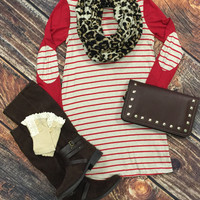Striped Elbow Patch Tunic: Red