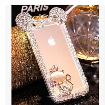 New 3D Mickey mouse Case For Samsung Galaxy S8 J3 2015 J1 2016 Cases Rhinestone ear Hello Kitty Soft Protect Cover Phone Chain