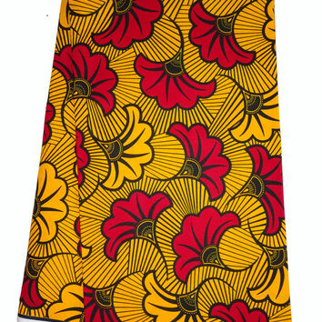 Yellow Red fabric by yards/Fleur Ankara fabric for African dress African wax Print cotton Fabric Rolls Royce super wax Yellow flowers