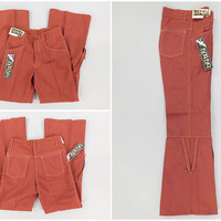 """1970s Vintage / Bell Bottom Trousers / Big Boy Jeans / 28 x 30 / Big Bell / 11"""" Bell Bottoms / With Tags / Wooderson Pants / Size Small 28"""