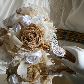 "Burlap Bridal Wedding Bouquet handmade rustic burlap roses, vintage style shabby chic sheer and lace with white satin roses. ""READY TO SHIP"""