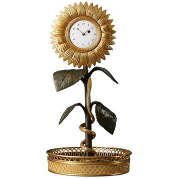 Rare French Empire Early 19th Century Sunflower Timepiece