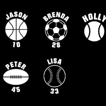 Sports with name and player number car decal auto window decal custom vinyl decal soccer football basketball baseball softball tennis decal