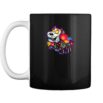 Day of the Dead Dog with flowers hearts and fangs  Mug