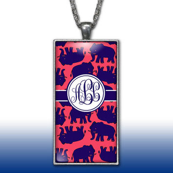 Elephants Monogram Pendant Charm Necklace Navy Red Personalized Custom Initial Necklace Monogram Jewelry