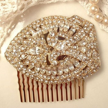 TRUE Vintage Art Deco Gold Bridal Hair Comb, Pave Clear Rhinestone Gold Bridal Headpiece, Heirloom Fur Clip Crystal Comb Great Gatsby 1920