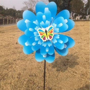 Butterfly Peony Flower Colourful Wind Spinner Windmill Home Garden Decor New  #T026#