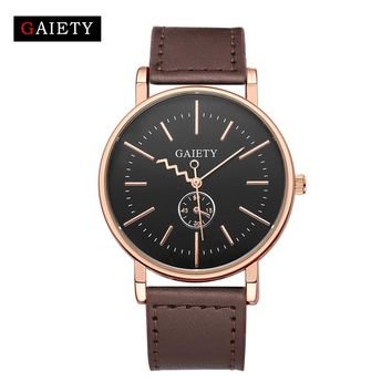 GAIETY  Brand Quartz watch men Black Casual Japan quartz-watch Leather Analog Quartz Watches clock male