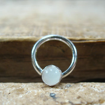 Septum & Nipple Ring Silver Moonstone Gemstone