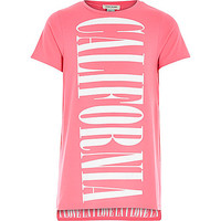 River Island Girls pink California longer length t-shirt