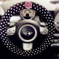 Personalized Monogram Car Steering wheel cover-Polka Dots pattern, Unique Auto Accessories, Custom Automobile Wheel cover