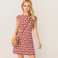 Stand Collar Zip Back Ditsy Floral Fit Flare Short Slim Dress Women Elegant Short Sleeve Dresses