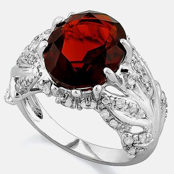 5 Carats Lab Created Garnet & 4 Carats Created Diamonds in 925 Sterling Silver Ring