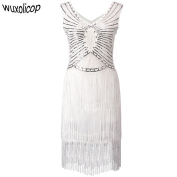 Gatsby Charleston Sequin Off White Bead Fringe Flapper Dress Double V Neck Sleeveless Tiered Tassel Party Dress