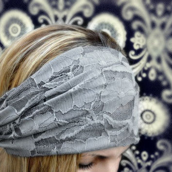 Gray Lace Headband Stretchy Wide Lacy Head Band