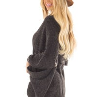 Black Two Tone Cardigan with Button Details