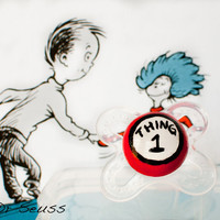 NEW- Thing 1- Hand Painted Custom Pacifier