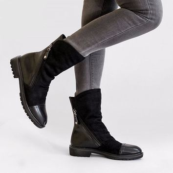 Women's Faux Suede Leather Mid-Calf Boots with Zipper